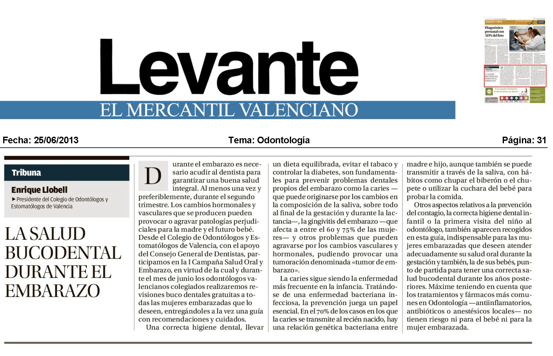 La salud oral en el embarazo ilustre colegio oficial de odont logos y estomat logos de valencia - Periodico levante el mercantil valenciano ...